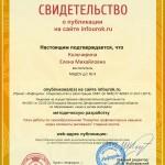 Сертификат проекта infourok.ru № ДБ-116454