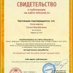 Сертификат проекта infourok.ru № ДБ-116460