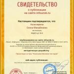 Сертификат проекта infourok.ru № ДБ-123032