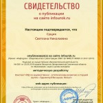 Сертификат проекта infourok.ru № ДБ-124172