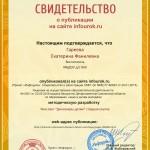 Сертификат проекта infourok.ru № ДБ-163821