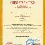 Сертификат проекта infourok.ru № ДБ-163828