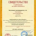 Сертификат проекта infourok.ru № ДБ-193179